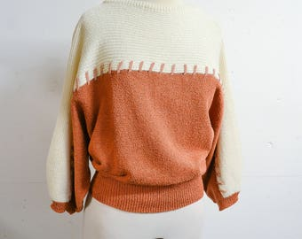 RESERVED 1980s does 50s Batwing silk knit & suede sweater / 1950s stl cream brown slash neck dolman sleeve jumper top - S M