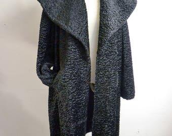 1950s Black wide collar faux astrakhan fur coat / 50s huge collar fake Persian lamb swing coat - L XL