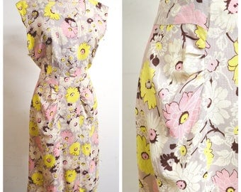 RESERVED 1930s Pastel floral linen day dress / 30s sleeveless pink yellow flower print ruched summer dress - XS S