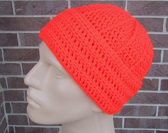 Blaze Orange Beanie - Mens Hunting Hat - Crocheted - Soft Acrylic Yarn - Handmade - Warm Cap - Size M/L - Ready to Ship