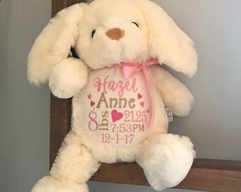 Personalized Stuffed animal,  announcement animal, Baby Stat stuffed animal, Stuffed animal, personalized, Birth stat animal, baby gift