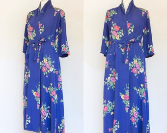 vintage 1940s floral rayon gabardine dressing gown | 40s blue floral long wrap dress robe with pocket | L - XL