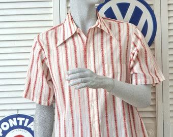 Vintage Men's Shirt/60's 70s Atomic Rockabilly Short Sleeve White & red Stripes Medium Campus 1 Pocket Button Front poly-cotton Greek Key