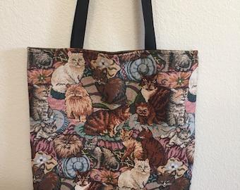 Tapestry Cat Tote Bag - Cat Lady - Shopping Bag - Market Bag - Book Bag