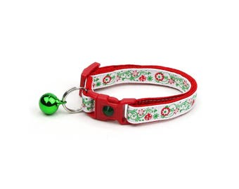 Christmas Cat Collar - Ornaments and Snow - Small Cat / Kitten Size or Large(standard) Size Collar