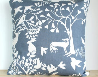 Decorative Pillow Cover, Blue Pillow Sham, Wildlife Cushion Cover, Cotton Pillowcase, Couch Pillows, Sofa Pillow - Glade Dusky Blue