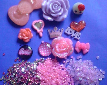 Kawaii cabochon decoden deco diy big pink bow and teardrop kit  C 5     USA seller