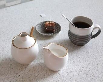 Ceramic Cream and Sugar Set with Gold Rim