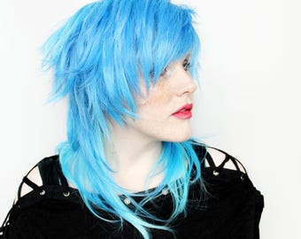 SALE Blue wig | Long Blue wig, Scene Emo wig | Straight wig, Blue Scene wig, Cosplay wig | Frozen Sea