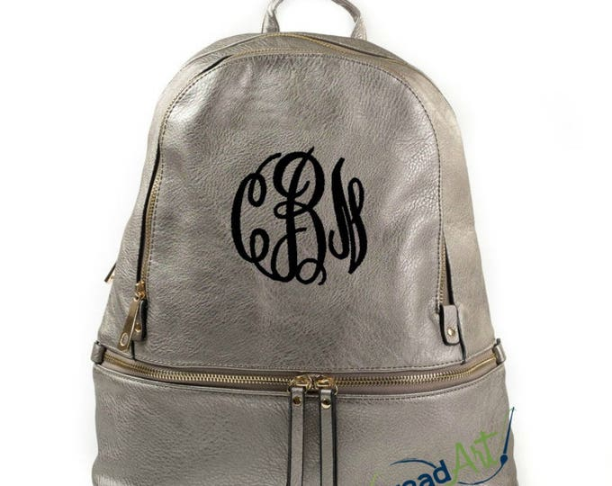Featured listing image: Pewter Backpack Purse Bag with Gold Accents with Embroidered Monogram Personalized Faux Leather Can Be Used as Diaper Bag too