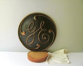 Vintage General Electric Plaque Sign GE Emblem Plate Large Industrial GE Logo Motor Engine Fan Machine Round Bronze Pebbled Painted Surface