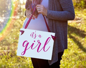 It's A Girl Sign Gender Reveal Baby Announcement | Pregnancy Maternity Shoot Hanging Banner Handmade in USA Custom Colors 1314 BB