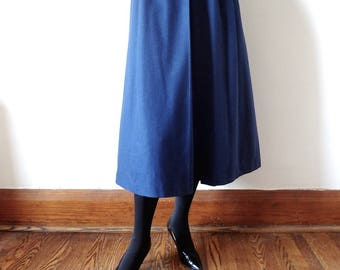 Vintage GEIGER Wool Skirt - steely blue pleated a-line trachten from Austria size M