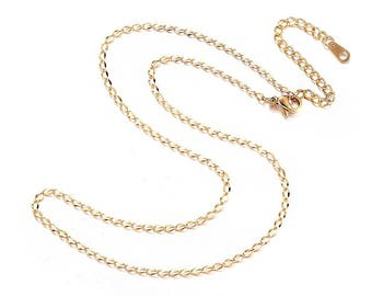"""Stainless Steel Necklace 16"""" - Fine Gold Plated Curb Link Chain - Great Quality - N410"""