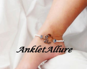 BoHo Anklet Ankle Bracelet Flower Anklet Painted Copper Anklet Heart Anklet for Women