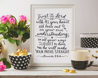 Christian Wall Art ~ Trust in the Lord ~ Proverbs 3:5-6 ~ Hand-Lettered Design