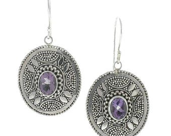 Amethyst Sterling Silver Earrings Balinese Bali Jewelry