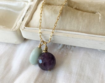 Amethyst short necklace, layering necklace, boho girlfriend gift, jewelry gift, amethyst choker, February birthstone, gift for her wife gift
