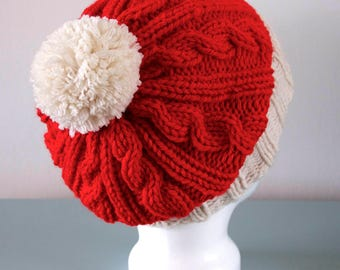 Knitted Santa Hat - Red Cream Cable Slouchy Merino Wool Christmas Pom Pom Unisex Gift for Him Gift for Her by Emma Dickie Design