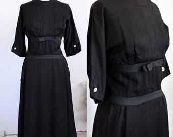 Vintage 1950s IMagnin Black Dress With Pockets / 50s Little Black Dress / Ribbon Bow Waist / Three Quarter 3/4 Sleeve Rayon Crepe