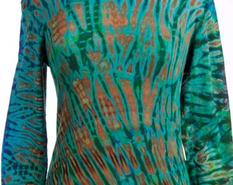 M Shibori Long Sleeve Tie Dye Women's T Shirt Hand Dyed SG Green