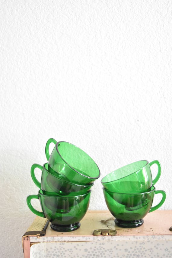 vintage set of 5 emerald green glass teacups / glassware
