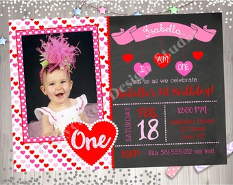 Sweet Valentine 1st Birthday Invitation Invite Photo Picture pink and red Valentine's Day Birthday Party Printable