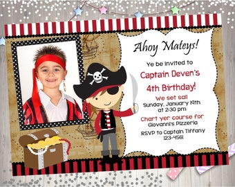 Pirate Birthday Party invitation invite Pirate party invitation photo picture Digital Print Your Own CHOOSE YOUR PIRATE