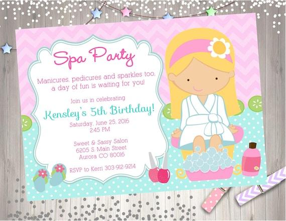 Spa Party Invitation invite spa birthday party invitation – Birthday Party Invitation Email