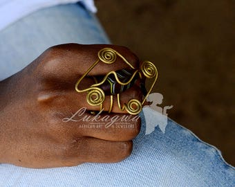 Afrocentric Brass Ring,African Statement Ring,Red Brass Statement Ring