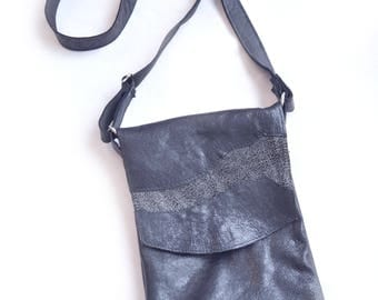 Leather Bag | Cross Body | Hip Bag | Gypsy | Boho | Patchwork Bag | Designer | Festival Bag | Bags and Purses | Black Leather