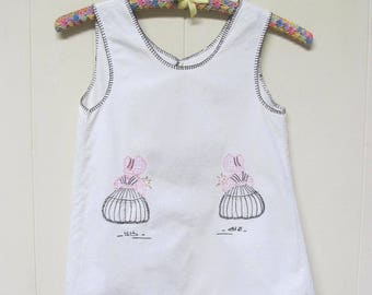 Vintage 1920s Girl's Apron / 20s Embroidered Cotton Full Apron