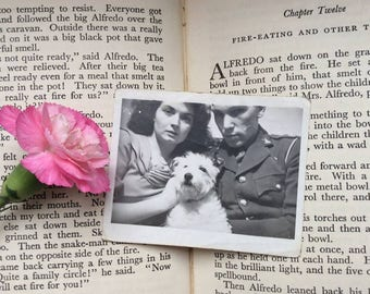 1940s Old Photo - 1940s Sweethearts Photo - 40s Dog Photo - Romantic Photo - DIY Wedding - Vintage Terrier