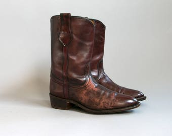 Vintage 1970s FRYE Boots Distressed Brown Leather Western Boots, Men's Size 8 1/2 Women's Size 10, Made in the USA, Work Boots