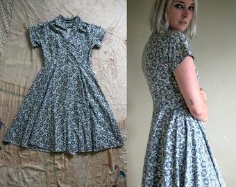 Vintage 1940's Cotton Short Sleeved Day Dress, Novelty Print, Women's, 1940's Dress
