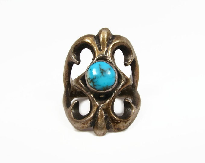 Vintage Navajo Cast Sterling Turquoise Ring