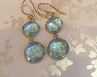 Blue Topaz Gemstones and Gold Earrings