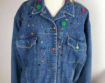 Vintage DIY BEDAZZLED Blue Denim Jean Jacket 80s/90s Carole Little Size 12