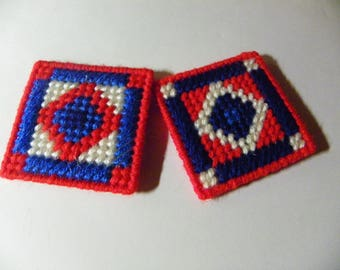 Set of 2 Plastic Canvas American Quilt Magnets  #744