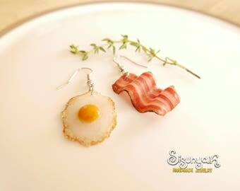 English Breakfast Earrings Asymmetrical Earrings Fried Egg and Bacon