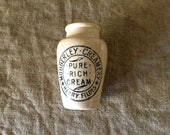 "Fabulous VINTAGE English stone ware  ""MOBBERLEY Creamery, Henry Fields,Pure Rich Cream"" pot from the early 1900's. My vintage home."