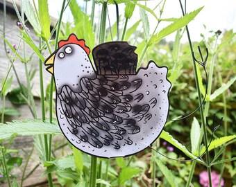 Grey Hen Card - 3D handmade hanging card, chicken card, bird card, pop-up blank inside card, chicken greeting card, chicken birthday card
