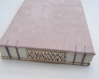 Dusty pink, cream, powder, journal, Coptic, woven spine, notebook, faux suede, A6
