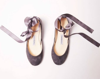 The Nubuck Ballet Flats in Ash Grey with Satin Ribbons | Lace up Shoes | Minimal Women's Flat Shoes | Ash Grey with Satin | Made to Order