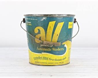 Vintage All Detergent Bucket Vintage Bucket Old Bucket Vintage All Detergent Pail Blue And Yellow All Bucket Galvanized Bucket Pail