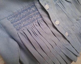 Darling little Vintage Smocked shirt for Baby or Toddler. Tiny blue check. Pleated Front.