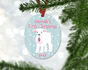 Personalized First Christmas Ornament, Baby Girl Keepsake Ornament, Baby's 1st Christmas, Little Lamb, Christmas Gift (025)