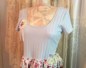 Light Blue Crop Top, ruffle floral lace, cute sexy womens shabby chic top, pink lace flowers MEDIUM