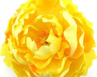 "Full 5"" Yellow Peony Silk Flower Hair Clip"