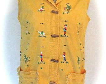 Vintage HAITIAN HAND EMBROIDERED Yellow Orange Fringe Summer Wood Buttons Ladies Small Blouse